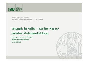 Auf dem Weg zur inklusiven Kindertageseinrichtung - IFP - Bayern