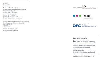 Professionelle Promotionsbetreuung - Institut für Sozialforschung ...