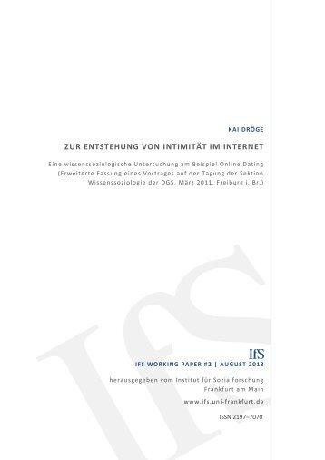 Zur Entstehung von Intimität im Internet - Institut für Sozialforschung ...