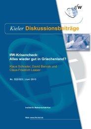 Kieler Diskussionsbeiträge - Institut für Weltwirtschaft