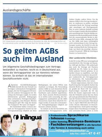 So gelten AGBs auch im Ausland - und Handelskammer Nord ...