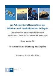 10 Anliegen zur Stärkung des Exports - IHK Nürnberg für Mittelfranken