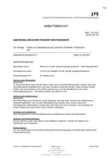 Tranche 1 Arbeitsbericht 21.09.2011