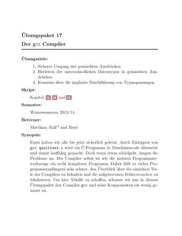 ¨Ubungspaket 17 Der gcc Compiler
