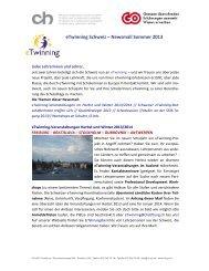 eTwinning Schweiz – Newsmail Sommer 2013 - Imedias