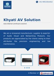 Khyati AV Solution, Mumbai - Manufacturer & Trader of Audio Visual ...