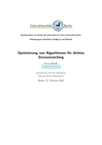 Optimierung von Algorithmen fu127 ur dichtes Stereomatching