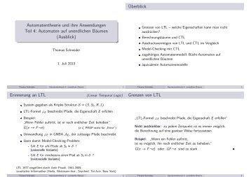 Automatentheorie und ihre Anwendungen Teil 4: Automaten auf ...