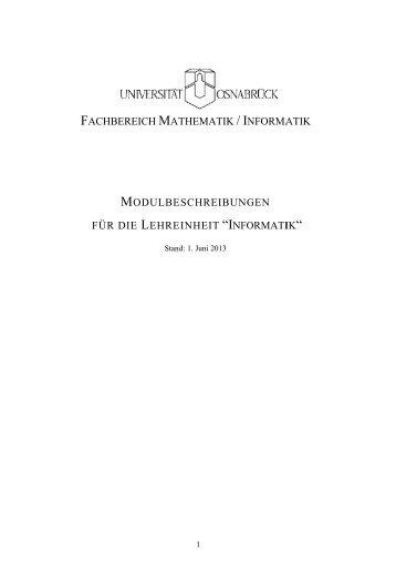 Modulbeschreibungen Informatik - Institute of Computer Science