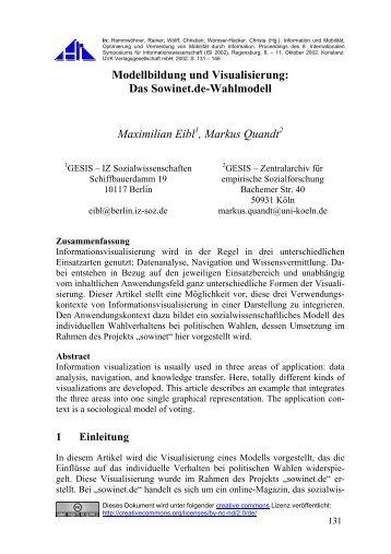 Modellbildung und Visualisierung: Das Sowinet.de-Wahlmodell ...