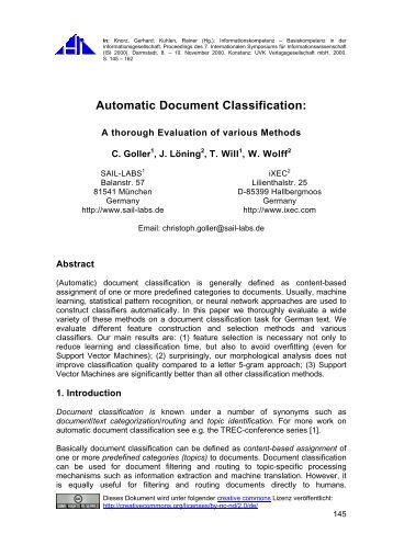 in order to assure high p With automated document classification