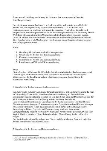 Kosten- und Leistungsrechnung im Rahmen der kommunalen Doppik