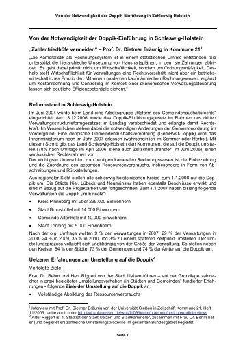 Notwendigkeit der Doppik in Schleswig-Holstein