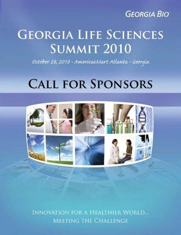 CAll FOR SPONSORS GEORGiA LiFE SciENcES SUMMit 2010