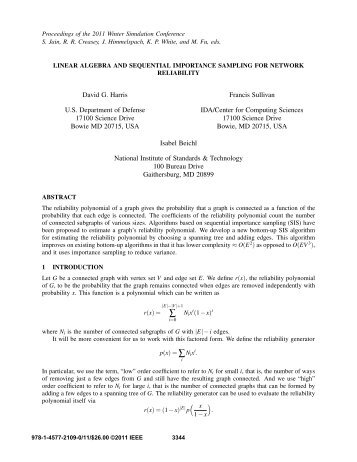 linear algebra and sequential importance sampling for network ...