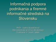 Informaèná podpora podnikania a firemné informaèné strediská na ...