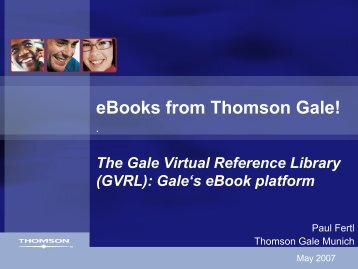 The Gale Virtual Reference Library - Inforum