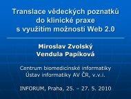 Web 2.0 a translace vědeckých poznatků do klinické praxe - Inforum