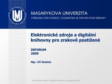 Digitální knihovny pro zrakově postižené - Inforum