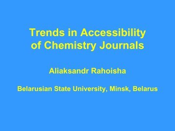 Trends in Accessibility of Chemistry Journals - Inforum
