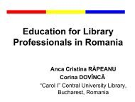 Education for Library Professionals in Romania - Inforum