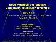Nové možnosti vyhledávání vědeckých lékařských informací - Inforum