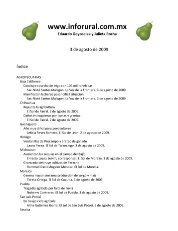 Inforural 3 de agosto de 2009 - InfoRural.com.mx