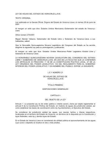 LEY DE AGUAS DEL ESTADO DE VERACRUZ-LLAVE - OEIDRUS ...