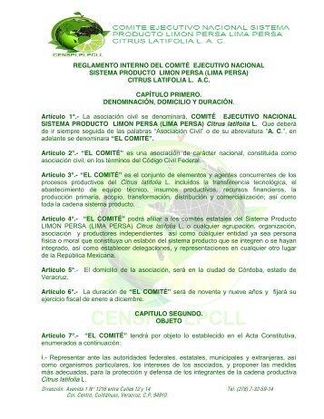 Reglamento Comité Nacional Sistema Producto ... - InfoRural.com.mx