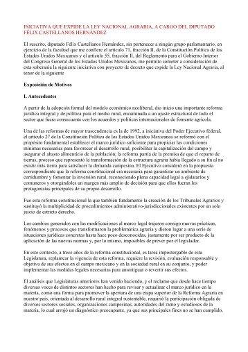 Iniciativa de Ley Nacional Agraria - InfoRural.com.mx