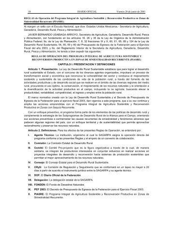 Reglas de Operación PIASRE 2003 - InfoRural.com.mx