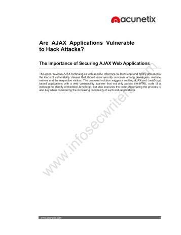 Are AJAX Applications Vulnerable to Hack Attacks? - Infosecwriters ...