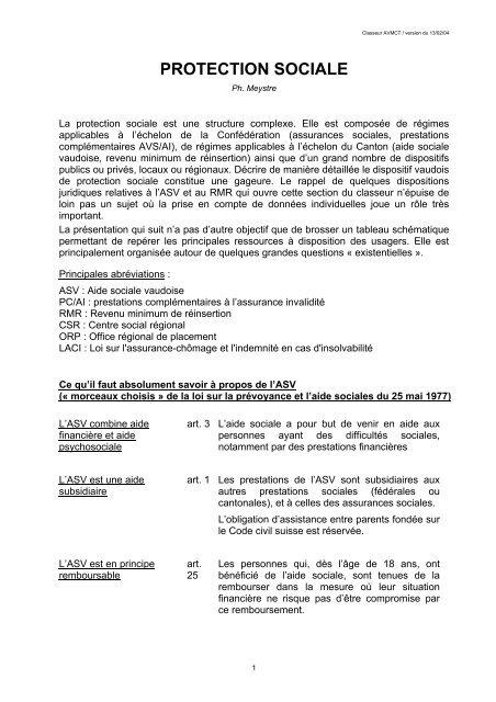 Aide Sociale Classeur Avmct Association Vaudoise Des