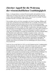Zürcher Appell für die Wahrung der wissenschaftlichen ... - Infosperber