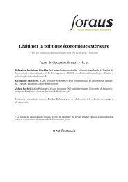 Légitimer la politique économique extérieure - Infosperber