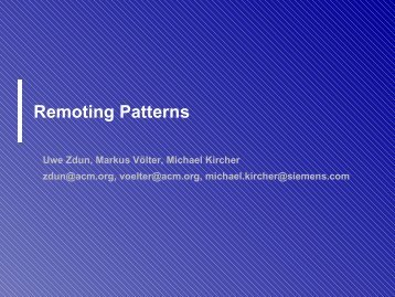 Remoting patterns - Distributed Systems Group
