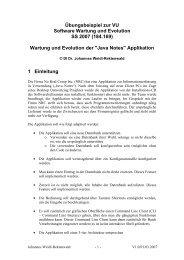 Übungsbeispiel zur VU Software Wartung und Evolution SS 2007