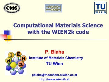 Computational Materials Science with the WIEN2k code