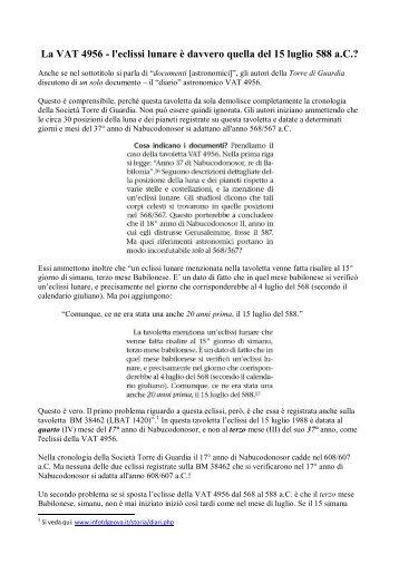 La VAT 4956 - l'eclissi lunare è davvero quella del ... - InfoTdGeova.it