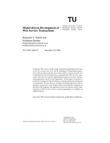 Model-driven Development of Web Service Transactions