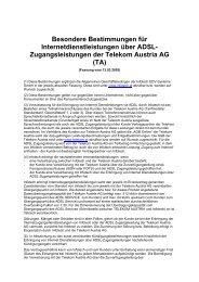 Zugangsleistungen der Telekom Austria AG - Infotech