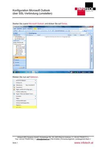 Konfiguration Microsoft Outlook über SSL-Verbindung ... - Infotech