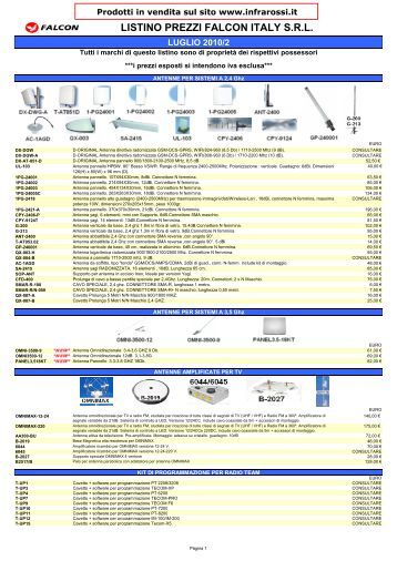 catalogo PDF - Telecomandi e controlli remoti ad infrarossi