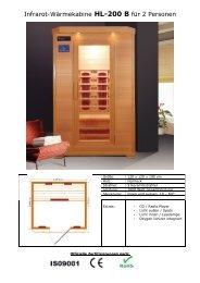 Infrarot-Wärmekabine HL-200 B für 2 Personen