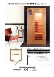 Infrarot-Wärmekabine HL-100 B für 1 Person