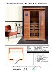Infrarot-Wärmekabine HL-200 K für 2 Personen
