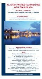 43. kraftwerkstechnisches kolloquium 2011 - Technische Universität ...