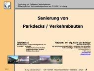 Sanierung von Parkdecks / Verkehrsbauten - Ingenieurkammer Sachsen