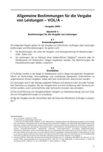 Allgemeine Bestimmungen für die Vergabe von Leistungen – VOL/A –