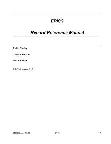 epics record reference manual sns control systems rh yumpu com epics record reference manual epics channel access reference manual